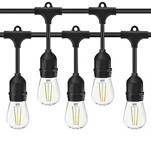 Rybozen, catena di lampade LED per ambienti esterni, 14,6 metri, resistente alle intemperie, con 15pese per lampadine, con lampadine LED stile vintage da 2W, per illuminazione giardino, patio, festa di nozze 8 spesavip