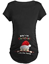 Maternity Cute Funny Tee Short Sleeve Christmas Pregnancy...
