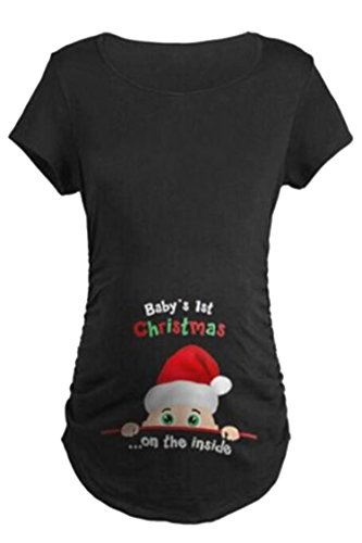 Maternity Cute Funny Tee Short Sleeve Christmas Pregnancy Announcement T Shirt Size S(Black) (Christmas Maternity Shirts Funny)