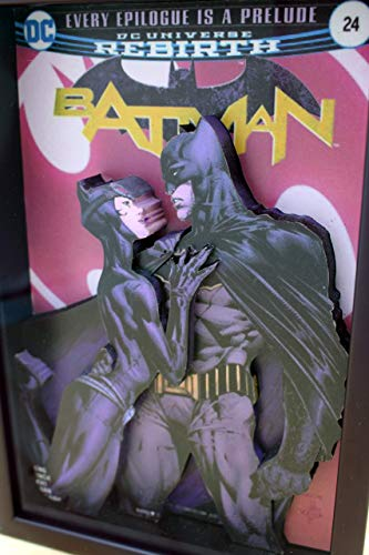 Catwoman & Batman, Picture Framed 3D Pop-up Art, Bruce Wayne, Dark Knight, Cat Woman, Caped Crusader, DC Comics Super Hero, Gotham City, Superheroes (Catwoman Picture)