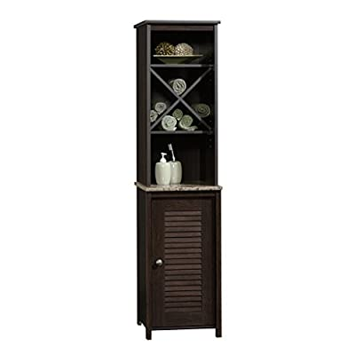 Sauder Peppercorn Linen Tower, Cinnamon Cherry finish - Open shelving features cubbyhole divider for towel storage Faux granite finish shelf with EverSheen top-coat provides clear, durable finish that resists heat, stains, and scratches Adjustable shelf behind louver detailed door - shelves-cabinets, bathroom-fixtures-hardware, bathroom - 41QxUoEtHyL. SS400  -
