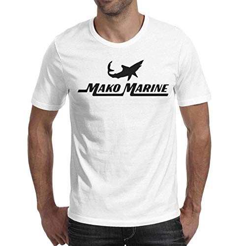 Men's t Shirts White Cool Short Sleeve Black-Mako-Marine-Logo- t Shirt