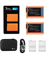Vemico NP-FW50 Battery Charger Pack 2 X 1200mAh Replacement Batteries LCD Type-C Dual Charger for Sony A7/A6400/A7 II/A7R/A7R II/A7S/A3000/A5000/A5100/A6000/A6500/RX10/A35/A55/RX10 IV/RX10 II And More