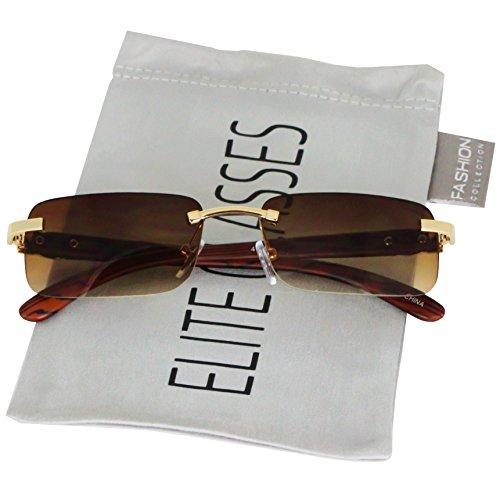 (Elite Slim Rimless Rectangular Metal & Wood Art Aviator Sunglasses (Brown))