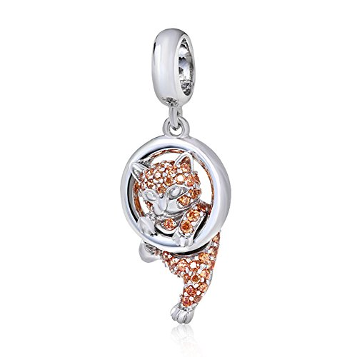 (Lucky Cat Charm 925 Sterling Silver Animal Charm Pet Charm Halloween Charm Christmas Charm for Diy Charms Bracelet (Cat))