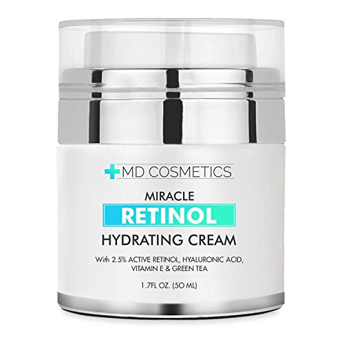 NEW FORMULA FOR 2018! MD Cosmetics Retinol Moisturizer Cream for Face and Eye Area - With Retinol, Hyaluronic Acid, VITAMIN E & Green Tea. Night and Day Moisturizing Cream 1.7 Oz