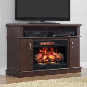 Cherry Electric Fireplace Cabinet Mantel (Dwell Infrared Electric Fireplace Entertainment Center -26MM5516-PC72)