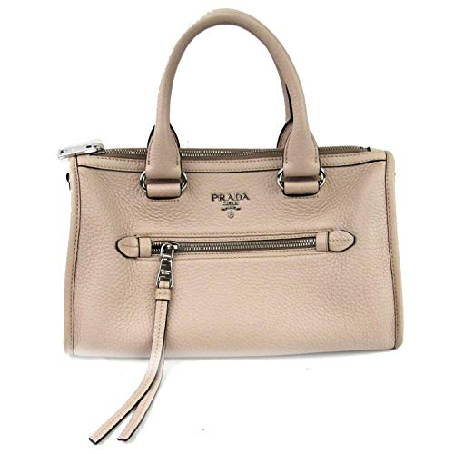 Prada Women's Ivory Talco Bauletto Vitello Phenix Leather Tote Satchel Handbag 1BB022 (Prada Logo Jacquard)