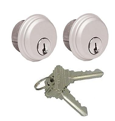 Storefront Door Mortise Lock Cylinder Keyed-Alike Pair Adams Rite Cam in Aluminum