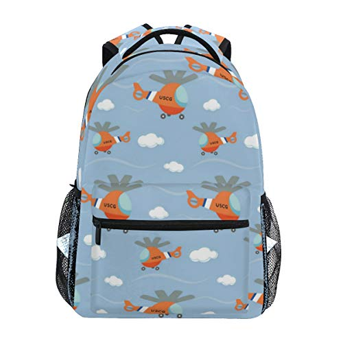 Backpacks Coast Guard Helicopter School Backpack Lightweight Large Capacity Bookbags Hiking Camping Daypack Travel Bag for College Student