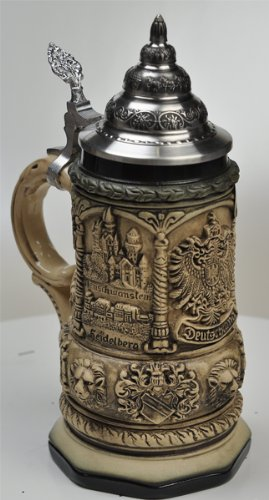 Beer Stein by King Deutschland (Germany) Famous Landmarks CoA Beer Mug Rustic 0.4l Limited Edition by KING