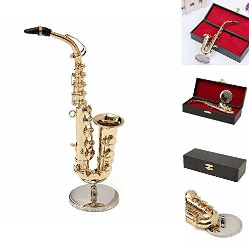 MECO 1/6 Model Saxophone Toys Alto Sax Mini Musical Instrument Leather Box Gift