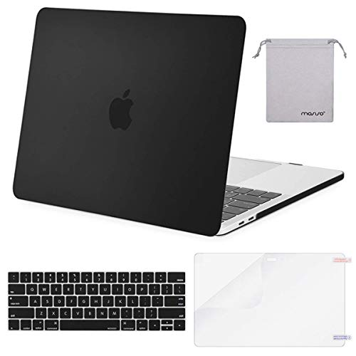 MOSISO MacBook Pro 15 inch Case 2019 2018 2017 2016 Release A1990 A1707, Plastic Hard Shell Case&Keyboard Cover&Screen Protector&Storage Bag Compatible with MacBook Pro 15 Touch Bar, Black (15 Case Macbook Pro)