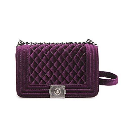 kaoling Bolso de cadena acolchado del bolso Bolsas de mujer de terciopelo azul Bolsas de hombro de mujer Femme Bolsas de Crossbody Femme red purple