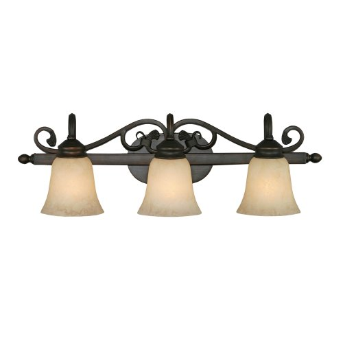- Golden Lighting 4074-3 RBZ 28-Inch W by 9-Inch H by 8-Inch E Belle Meade Three Light Vanity, Rubbed Bronze Finish