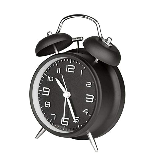 Thaibestmall Clock Extra Loud Alarm Twin Bell Battery Analogy Backlight Bedroom Old Style Black