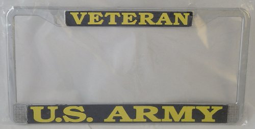 US Army Veteran License Plate Frame (Chrome - Us Frames