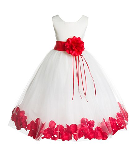 ekidsbridal Rose Petals Ivory Flower Girl Dress Birthday Girl Dresses Reception Dress 007ss (Rose Flower Girl Dress)