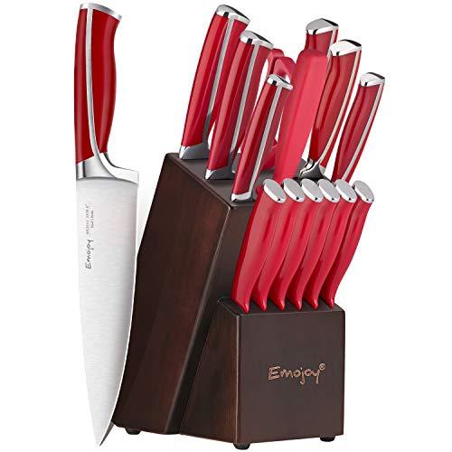 Emo joy Knife Set, 15-Piece Kitchen Knife Set with Block Wooden, Red Handle for Chef Knife Set, Kitchen Knives Sharpener…