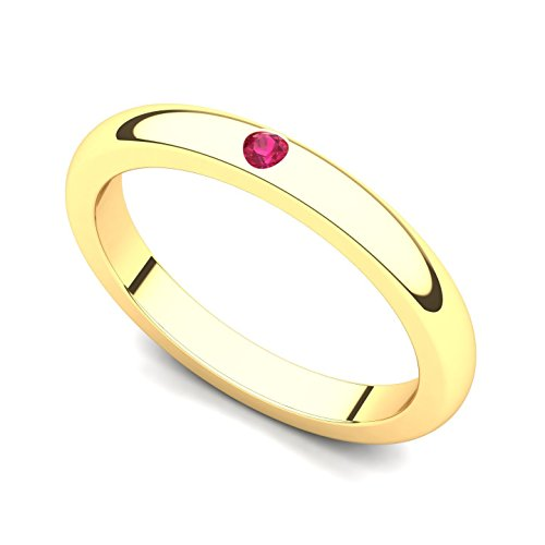 18k Yellow Gold Bezel set Ruby Band Ring