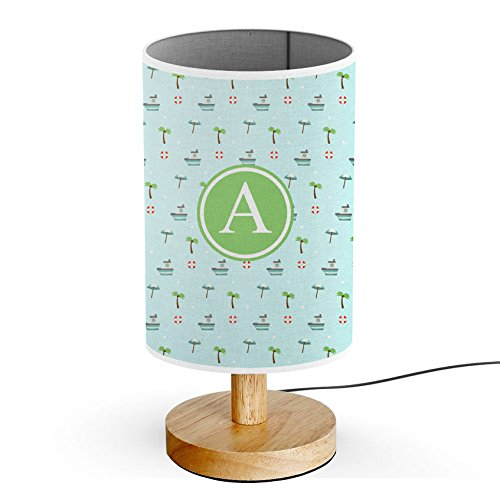 [ INITIAL LETTER A ] Monogram Name USB POWERED Wood Base Desk Table Bedside Lamp [ Palm Trees With Boats ()