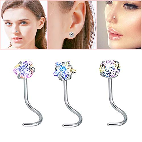 (1 Sets 3 Pcs Colorful Drilling Insert Zircon Nose Rings Round Heart Star Shaped Curved Stainless Steel Nose Studs Cubic Zirconia Screw Piercing Tool for Body Piercing)