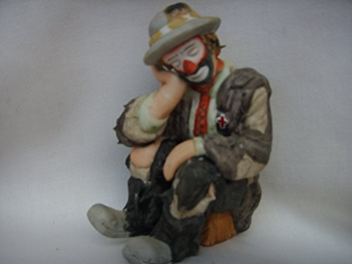 """Flambro Clown Collection Porcelain Vintage Figurine 3.5"""" Collectible ; Emmett Kelly Jr. The Thinker"""