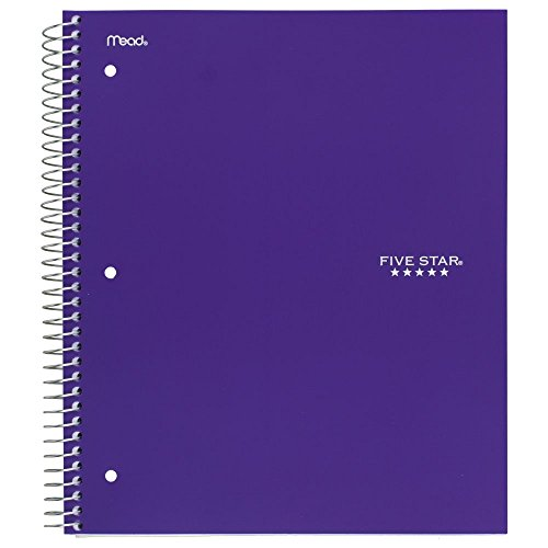 """043100062103 - Five Star Spiral Notebook, 3 Subject, College Ruled Paper, 150 Sheets, 11"""" x 8-1/2"""", Color Will Vary (06210) carousel main 7"""