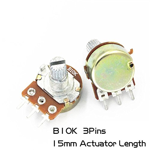 10Pcs Single couplet Rotary Potentiometer (mono) 3Pins WH148 15mm Actuator Length 10K B10K Variable Resistors Side Adjustment Rheostats Volume Control