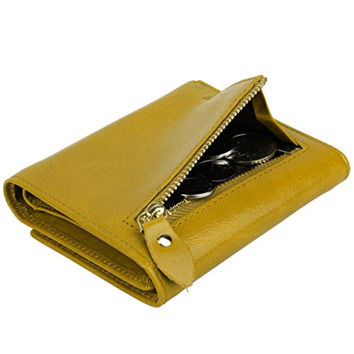 YALUXE Women's Compact Small Leather Tri-fold Wallet with Zipper Pocket(Gift Box) Yellow by YALUXE (Image #3)