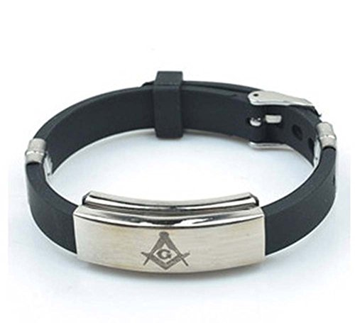 Freemason Masonic Bracelet - Stainless Steel & Rubber Freemason Masonic Wristband / Wristlet with Watch Style Clasp - Freemason's Jewelry for Free Masonry Member. Free Masons Masonary Design from Mason Zone
