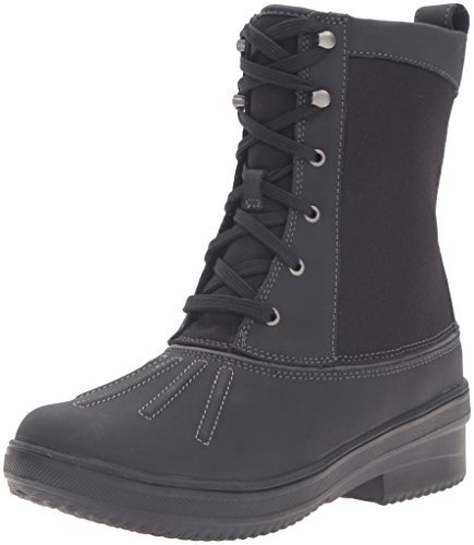 CLARKS Women's Carima Luna Snow Boot, Black Leather, 6 M US