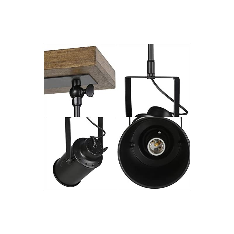 LNC Adjustable Track Lighting Fixture Farmhouse 3 Heads Ceiling Spotlight for Kitchen, Dining & Living Room, Foyer and…