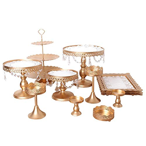 12 Set Of Pieces Cake Stands Iron Cupcake Holder, Fruits Dessert Display Plate White For Baby Shower Wedding Birthday Party Celebration Home Decor Serving Platter ()
