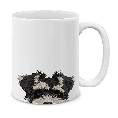 MUGBREW Schnauzer Puppy Dog White Ceramic Coffee Mug Tea Cup, 11 - Photo Schnauzer