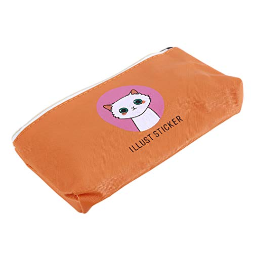 LZIYAN Cute Pencil Case Cartoon Cat Large Capacity Stationery Bag Pouch Case With Zipper Creative Pen Storage Bag Student Supplies,Orange by LZIYAN (Image #2)