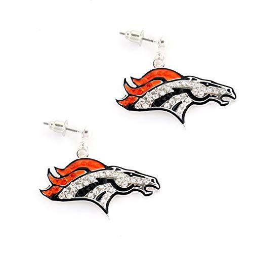 NFL Football Denver Broncos Crystal Logo Earrings in Orange and Navy