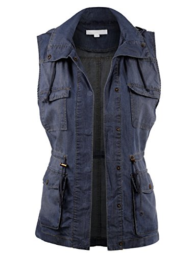 BEKDO Womens Solid Basic Cotton Tencel Anorak Safari Hoodie Vest-S-Blue