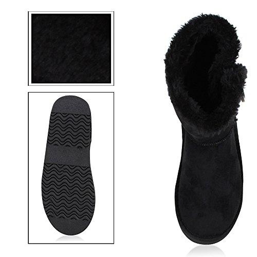 napoli-fashion Bequeme Warm Gefütterte Damen Schuhe Stiefel Schlupfstiefel Jennika Schwarz