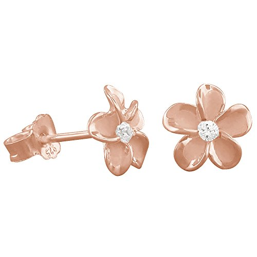 14kt Rose Gold Plated Sterling Silver 7mm Plumeria Stud Earrings