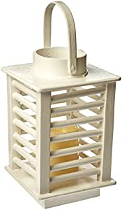 Pacific Accents by Flipo Humbolt Flameless Wooden Lantern - White - FLA-HUMBOLT-WHT