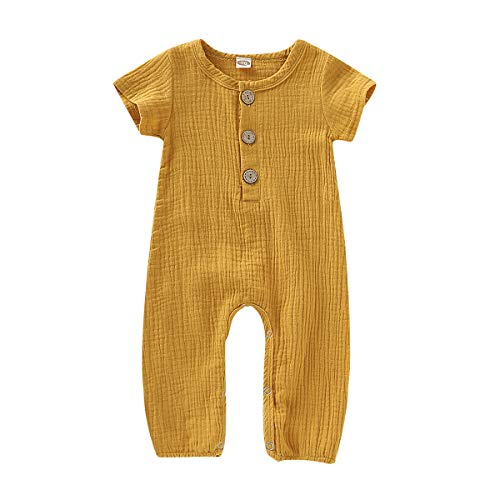 Happy Town One Piece Outfits Baby Solid Color Rompers with Button Kids Short Sleeve Playsuit Jumpsuits Cotton Clothing Yellow