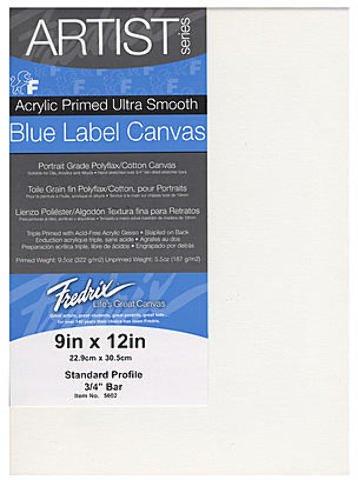 Fredrix Blue Label Ultra-Smooth Portrait Grade Pre-Stretched Artist Canvas (9 In. x 12 In.) 1 pcs sku# 1841358MA