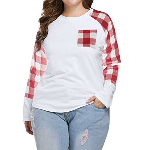 (New in Respctfu Women's Long Sleeve Fashion Plaid Pockets T Shirt Winter O Neck Pullover Ladies Loose Shirt Plus Size)