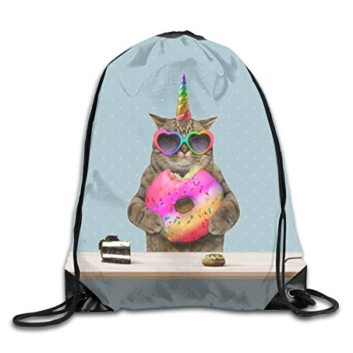 Cat Unicorn Party Donut Catcorn Drawstring Bag Stylish Cute Print Lightweight Sackpack Sport Gym Bundle Backpack Theme Novelty Outdoor Classic
