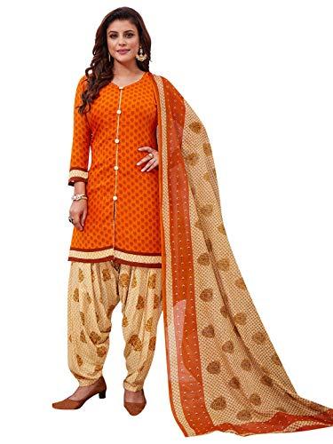 Jevi Prints Women's Unstitched Faux Crepe Orange & Beige Block Print Wrinkle Free Dress Material (Rimzim-9206_Orange & Beige_Free Size)