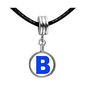 Chicforest Silver Plated Blue Letter B Photo Peridot Crystal August Birthstone Flower dangle Charm Beads Fits Pandora Charms
