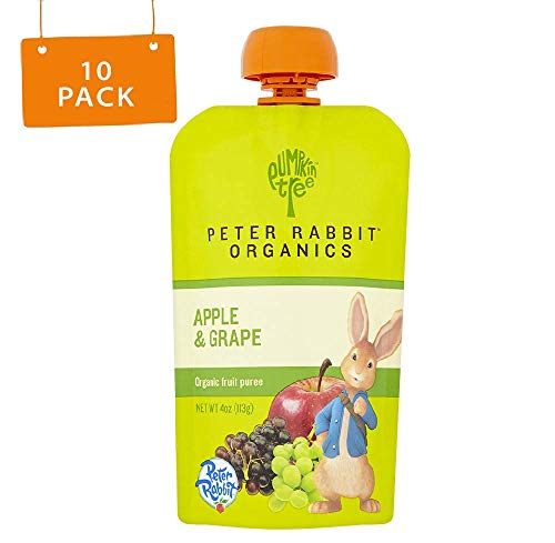 Peter Rabbit Organics, Apple & Grape puree, 4oz. Pouches (Pack of 10)