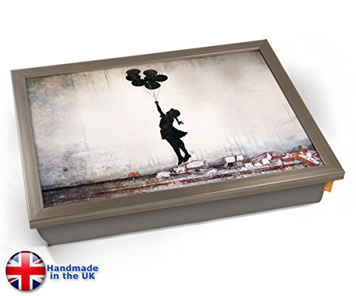 Banksy Heart Balloon Cushioned Lap Desk Tray - Siver - Personalized Desk Lap