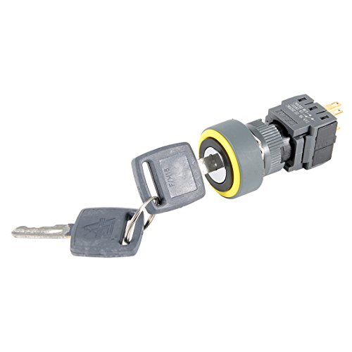 uxcell Latching Selector Key Lock Switch SPDT ON/OFF 2 Position AC 250V 0.5A 16mm Mounting Diameter Round Head with 2 Keys